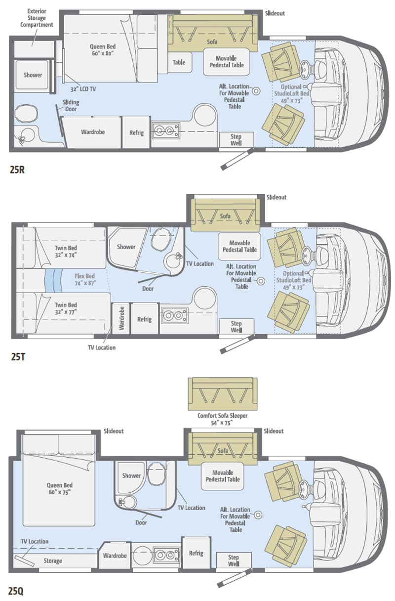 Motorhome class c floor plans with innovative minimalist for Floor plans for motorhomes