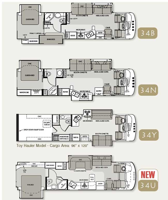 Four Winds Hurricane Class A Motorhome Floorplans Large Picture