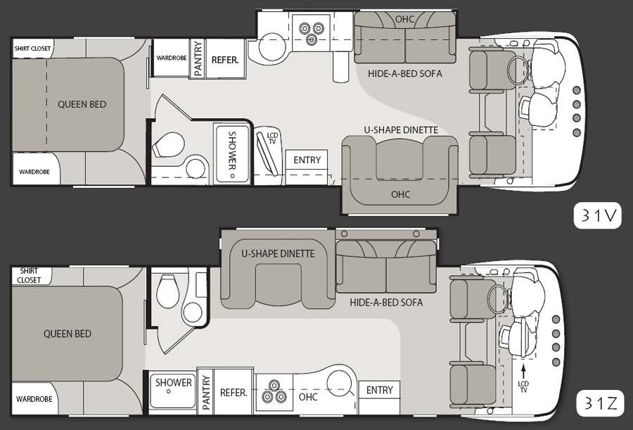 Four Winds Serrano Class A Motorhome Floorplans Large