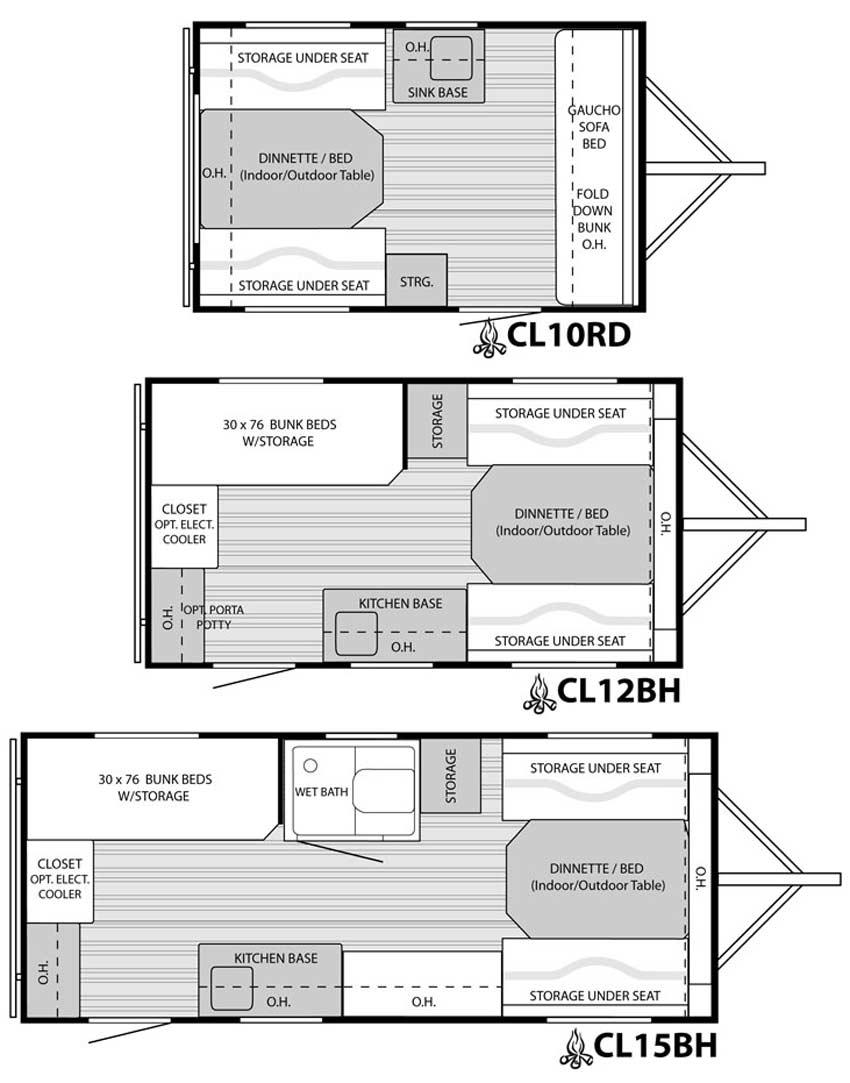 Camplite travel trailer floorplans large picture for 12 foot travel trailer floor plans