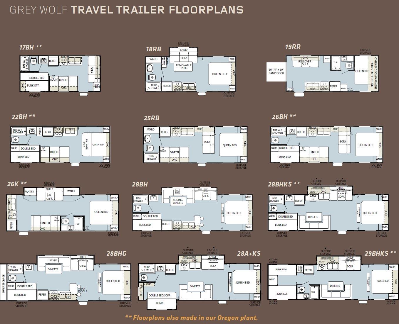Forest River Grey Wolf Travel Trailer Floorplans