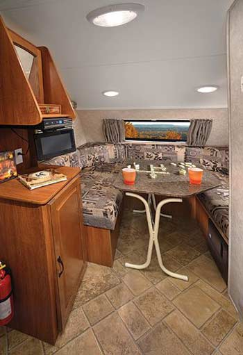 R-Pod small travel trailer interior - dinette