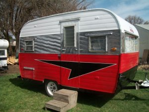 Red Silver Black Vintage Travel Trailer