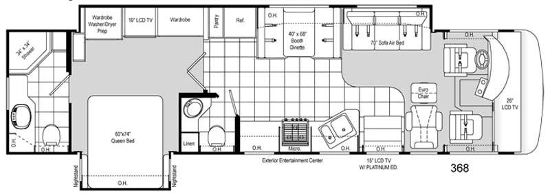 Damon Challenger Class A Motorhome Floorplan 368