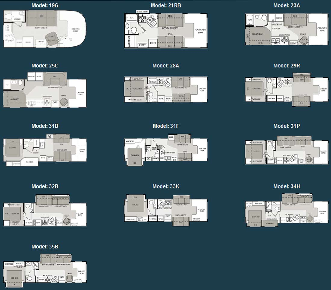 Four Winds Class C Motorhome Floorplans