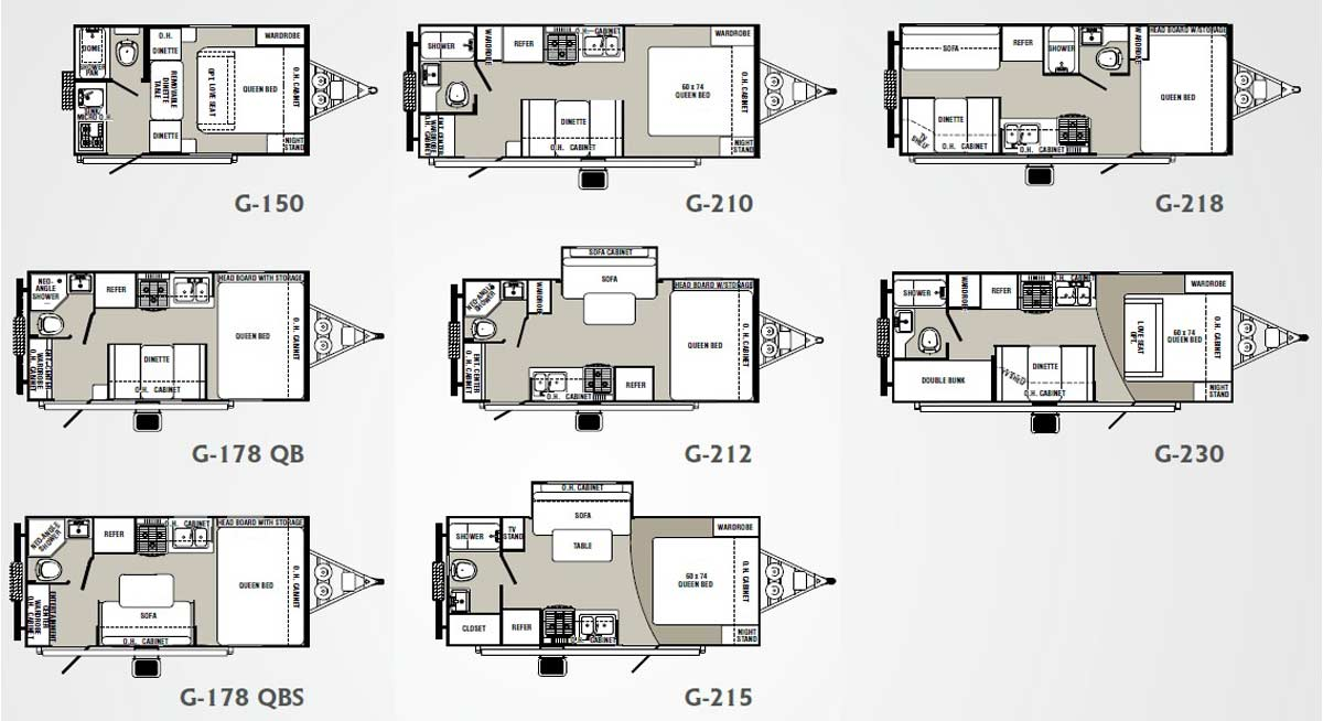 Palomino Gazelle micro-lite travel trailer floorplans