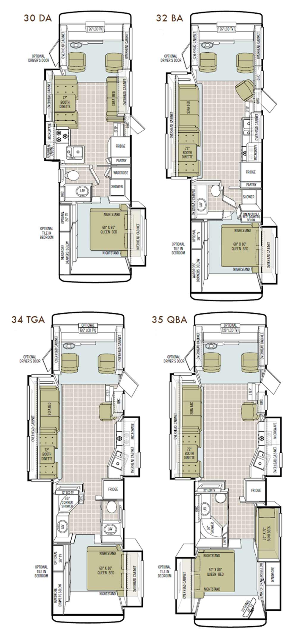 Tiffin Allegro class A motorhome floorplans - large picture